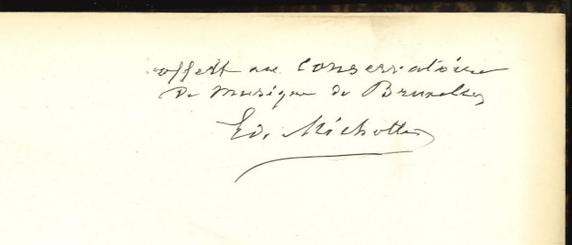 'Donated to the Royal Conservatory Brussels, Michotte'. Handwritten note.